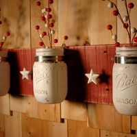 White Stars 'n Jars mason jar trio on Barn Red board with White Star knobs