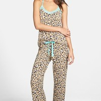 Women's PJ Salvage Lace Trim Print Jersey Pajamas ,