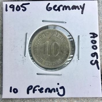 1905 German Empire 10 Pfennig Coin A0055