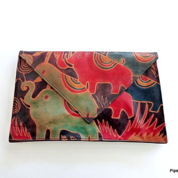 Tooled Leather Clutch 1980s Boho Leather Clutch Ethnic Purse with Elephants Envelope Clutch