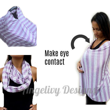 Lilac and Ivory Nursing Cover. Angelivy Nursing Cover. Nursing Cover. Nursing Scarf