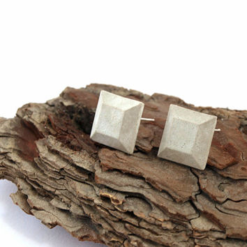 Square Earrings, Simple Stud Earrings, Gray Everyday Earrings, Concrete earrings, Silver Post Earring, Everyday Stud, Geometric Studs