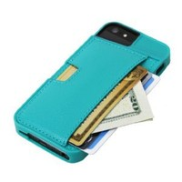 CM4 Q4-GREEN Q Card Case Wallet for Apple iPhone 4/4S - 1 Pack - Retail Packaging - Pacific Green: Cell Phones & Accessories