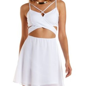 White Caged Crossover Cut-Out Skater Dress by Charlotte Russe