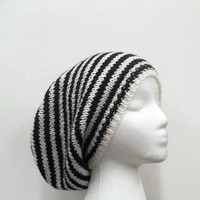 Knitted slouch hat black and white stripes large size for men or women  5088