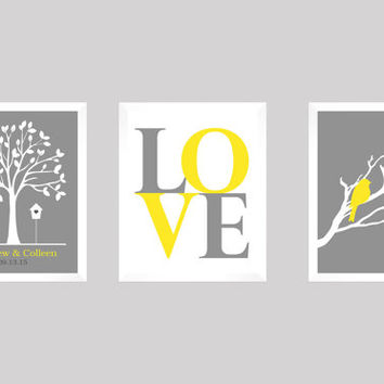 Love Birds Wedding Tree, Wedding Gift, Anniversary, Custom Wedding Gift, Modern Newlywed Print, Wedding Tree Print, CUSTOMIZE your COLORS