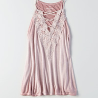 AEO Soft & Sexy Strappy Lace-Front Tank, Lively Lilac