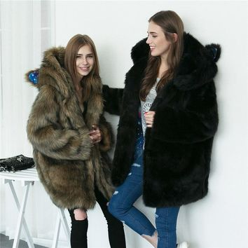 2018 fashion style female imitation fur parka faux fur jacket fur coat warm overcoat cat ears starry sky print lining