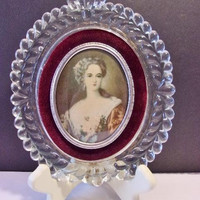 Lady Dower Glass Cameo Wall Decor Vintage Collectible Home Decor