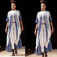 Woman Dress Women loose beach dresses Casual vestidos Elastic Cloak Traditional African Print Party vestido CF