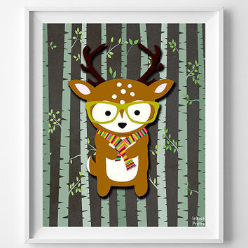Animal Nursery Decor, Woodland Deer Nursery Art Print, Nursery Wall Art, Hipster Deer, Baby Room Print, Giclee Art Poster, Christmas Gift