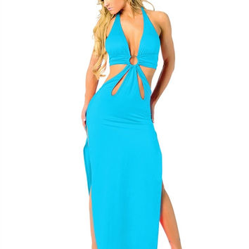 Light Blue Halter Deep V Neck Cut Out Maxi Dress with Double Side Slit