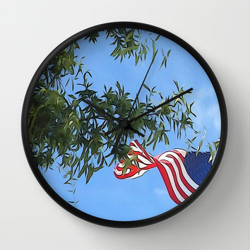 American Flag  Wall Clock by KCavender Designs