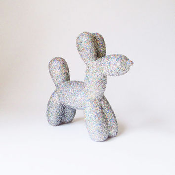 Sparkle Balloon Dog, Dog Sculpture, Nursery Decor, Gift for Him, Dog Figurine, Dog Art, Balloon Sculpture, Dogs, Glitter Dog, Child's Room,