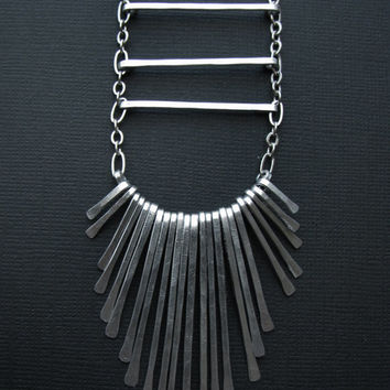 Aluminum Tribal Necklace . Three bars with fringe . Long Necklace . Tribal Aesthetic . bridesmaids