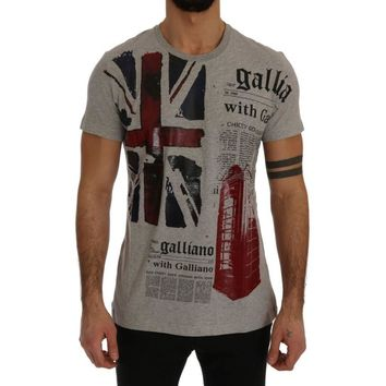 Galliano Gray Newspaper Print T-Shirt
