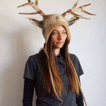 Deer Faun Antlers Hat - the perfect headgear for a druid shaman cosplay - handmade with life-sized Stag / Deer felt antlers