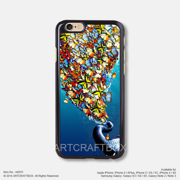Elephant colorful butterflies iPhone Case Black Hard case 070