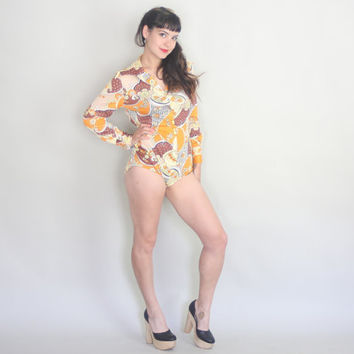 1970s Psychedelic BODYSUIT | Vintage 70s LADY LYNNE Floral Teddy | s/m