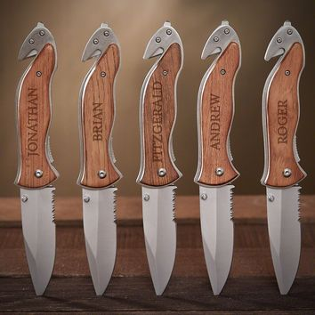 Serrated Personalized Knife Gift for Groomsmen Set of 5