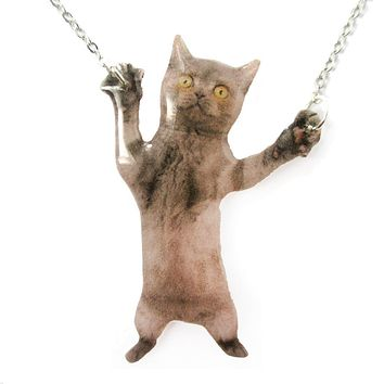 Adorable Grey Kitty Cat Standing on Hind Legs Shaped Pendant Necklace | Handmade