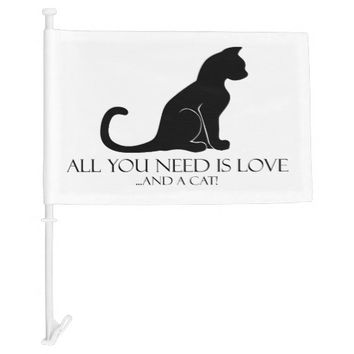 All You Need Is Love And A Cat Car Flag