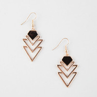 Full Tilt  Epoxy Tribal Cutout Linear Earrings Gold One Size For Women 25905671301