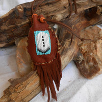 Medicine Bag, Small Hand Beaded Leather Pouch, Handmade, Native American, Tribal, Beaded Crystal Pouch, Hippie, Powwow, Rendezvous, Festival
