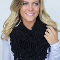Falling for Fringe Infinity Scarf - Black