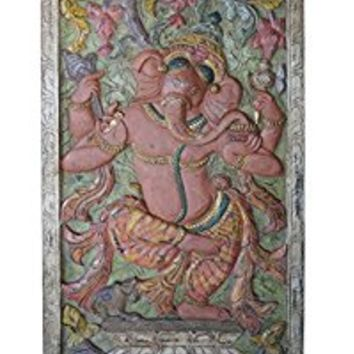 Antique Dramatic Door Panel Hand Carved Ganesha Muladhara Chakra Success New Beginnings Rustic Wall Decor