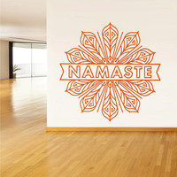 Wall Decal Vinyl Sticker Decals Namaste Words Quote Sign Letters Flower(z1378)