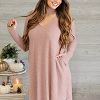 * Donell Ribbed Keyhole Dress : Mauve