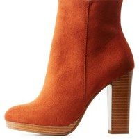 Rust Chunky Heel Platform Ankle Booties by Charlotte Russe