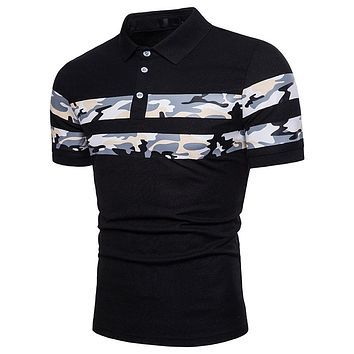 Men Polo Shirt Cool Camouflage Printing Top Shirt for Male Comfort Breath Turn-down Collar Men Polo