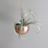 tiny vintage copper hanging planter