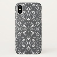 Fashionable ornate damask pattern white and gray iPhone x case