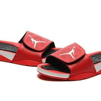 PEAPGE2 Beauty Ticks Nike Jordan Hydro V Retro Red/black Sandals Slipper Shoes Size Us 7-11