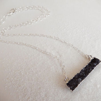 Charcoal Black Druzy Bar Necklace Rectangle Quartz Drusy - Free Shipping OOAK Jewelry