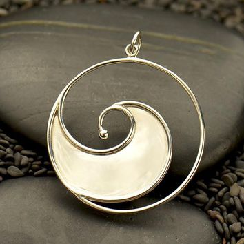 Large Sterling Silver Ocean Wave Pendant