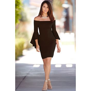 B| Chicloth 2018 Off The Shoulder Bell Sleeve Dress