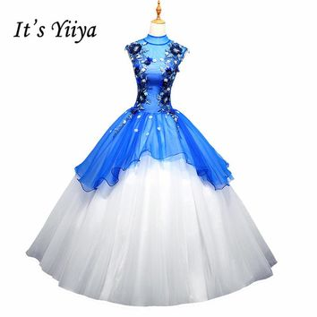 It's YiiYa Blue Sales High Collar Beading Sleeveless Appliques Wedding Dresses Flower Pattern Backless Wedding Frock L009