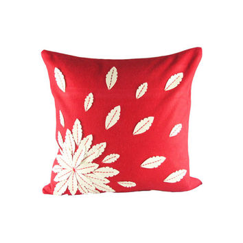 Design Accents SL 28884 Applique Flower Red Red and Ivory Felt Applique Flower 20 x 20 Decorative Pillow