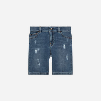 Boys' Trousers and Shorts | Dolce&Gabbana - DENIM SHORTS