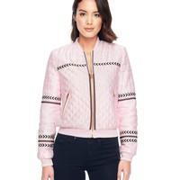 Whisper Pink Quilted Satin Slub Jacket by Juicy Couture,