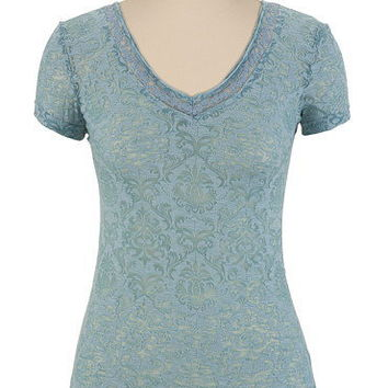 Lace V-Neck Burnout Tee