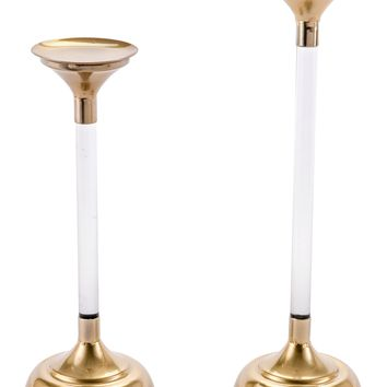 A10622 Set Of 2 Lucite Candle Holders Gold
