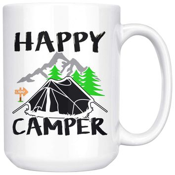 Tent Camping Mug Happy Camper 15oz White Coffee Mugs