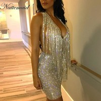 NATTEMAID sexy sequined dresses women Backless halter silver mini dress party 2018 New Arrivals tassel Summer dress club wear