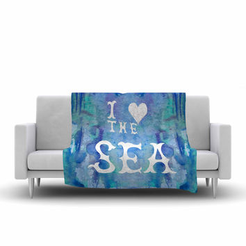 "Catherine Holcombe ""I Love The Sea 2"" Blue Teal Fleece Throw Blanket"