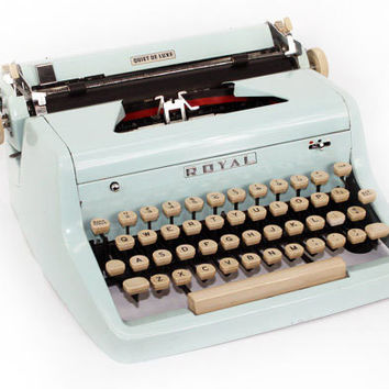 Blue Typewriter Royal Quiet DeLuxe Manual with Case Fully Serviced Working Typewriter